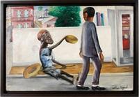 beggar on the street by wilson bigaud