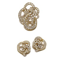 demi-parure comprising a brooch and a pair of ear clips (set of 2) by gerard
