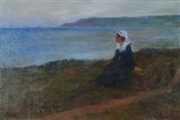 bretonne devant la mer by eugène labitte