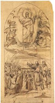 les apôtres prêchant surmontés par le christ dans une mandorle by louis-charles-auguste couder