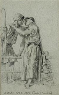 Jeune couple d'amoureux (preparatory study for...