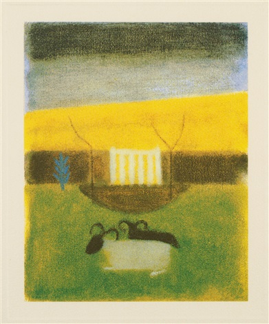 sheep at tulliallan by craigie aitchison