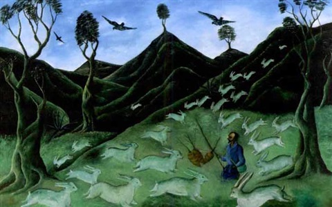 primitive forest scene with man holding carrots and rabbits coming to feed by jasmin joseph