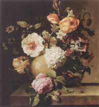 roses, hydrangea, tulips and other flowers with a bee on a stone ledge by a. cortés