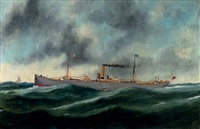 """the steamship """"snowdonian"""" crossing the channel by marie-edouard adam"""