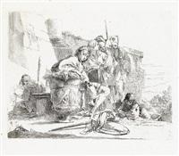 giovane seduto, appoggiato ad un'urna (from vari capricci) by giovanni battista tiepolo