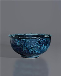 large turquoise bowl by ralph bacerra