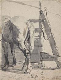 a horse seen from behind by pieter van bloemen