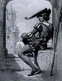 waechter in renaissancekleidung, bei der arkadenoeffnung eines schlossfensters by jules herbert