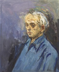 self-portrait in blue by moses soyer