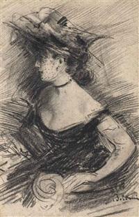 femme en buste au chapeau, de profil by giovanni boldini