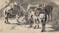 study of three saddled horses by pieter van bloemen