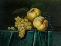 nature morte de pêches et raisins sur un entablement recouvert d'un velours bleu by paul liegeois