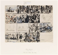 scene sketches for war and peace by charles hoffbauer