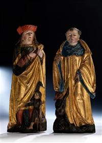 paar hochreliefs männlicher heiligenfiguren (pair) by hans klocker