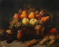 still life with an overflowing basket of apples, pears and grapes by alexis kreyder