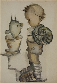 standing boy with cactus by m.i. hummel