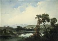 paesaggio lacustre con figure by giuseppe camino