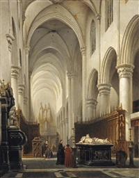 kerk van hooghstraeten: the interior of the church of hoogstraten, belgium by johannes bosboom