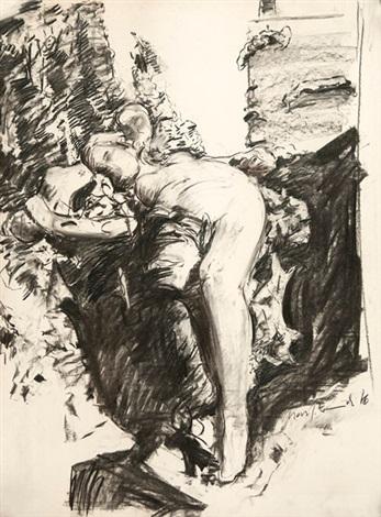 liegende weibliche figur dunkelbrauner und schwarzer by max kaminski