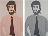 plaid shirt 1; and plaid shirt 2 (2 works) by alex katz