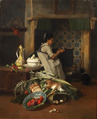 kitchen maid with game and vegetables by david emile joseph de noter