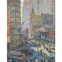 fulton and broadway with st. paul's church by ruth a. (temple) anderson