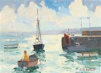 man in a boat, st. ives harbour by eric ward