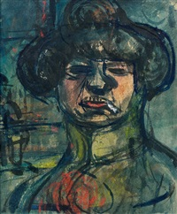 fille (a la cigarette) by georges rouault
