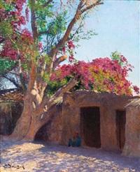 jeune égyptien à l'ombre d'un bougainvillier by ludwig deutsch