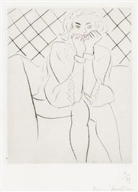 figure assise mains au menton by henri matisse