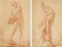 hercule (+ femme portant une jarre d'eau; 2 studies) by leonard de france