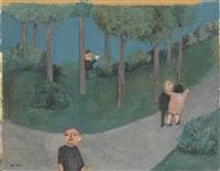 les amoureux au parc (+ etude de personnages; double-sided) by louis quilici
