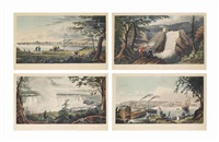montreal from st helen's island; falls of montmorenci from the east bank; a view of brockville, upper canada, from umbrella island; york from gibralter (sic) point; horse shoe fall of the falls of niagara from the upper bank of the british shore; quebec, f by james gray