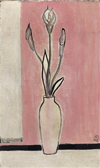 白瓶内之海芋 (lilies in a white vase) by sanyu