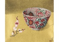 red ume and old vase by yuki ogura