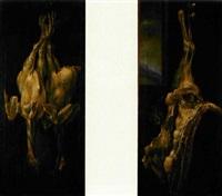 due tacchini (+ cosciotto di agnello; 2 works) by bartolomeo arbotori