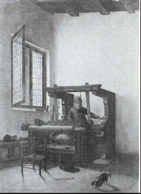 a peasant working at a loom in an interior by jacobus vrel