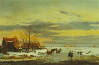 skaters on frozen river by reginald ernest arnold