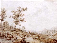 an italianate landscape with herdsmen and their cattle by jordanus hoorn