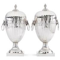a pair of dutch chestnut vases by alle de haas