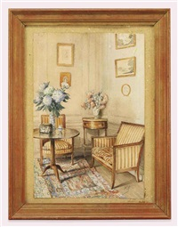 an interior with empire furniture and blue hyacinths by jean leonhard koechlin-schwartz