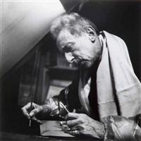 jean cocteau retouchant un cuivre. atelier bracons by pierre argillet