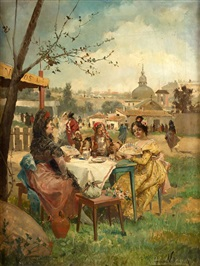 un día de fiesta en la pradera de san isidro con la ermita al fondo by eugenio lucas villamil