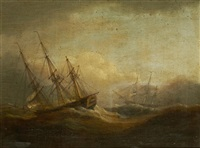 sailing vessels on a rough sea; and companion by thomas luny