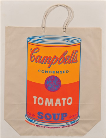 campbell's soup can on shopping bag (tomato soup) by andy warhol