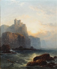 wolf's crag, sunset (+ looking to dunallie castle; pair) by george blackie sticks