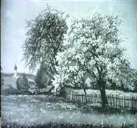 fruhlingslandschaft mit grossem, bluhendem obstbaum by ludwig koch-hanau