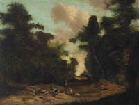 figures with a dog in a wooded landscape by gainsborough dupont