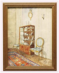 an interior with ceramics in a vitrine by jean leonhard koechlin-schwartz